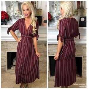🛍NEW! Button Down Striped Bordeaux Dress!